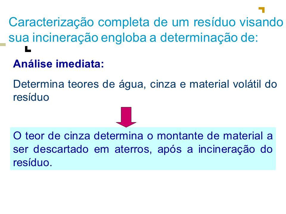 Caracterização completa de um resíduo visando sua incineração engloba a determinação de: Análise elementar: Determina teores de carbono, hidrogênio e nitrogênio.