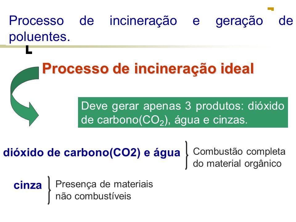 Processo de incineração e geração de poluentes.
