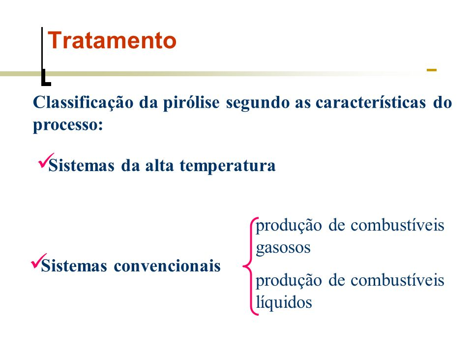 Tratamento Processo de reação endotérmica Reduzindo a perda de calor, é possível obter o fracionamento das substâncias sólidas presentes no lixo AlimentaçãosecagemvolatilizaçãoOxidação Fusão Zona pirolítica Esquema da Pirólise do lixo urbano