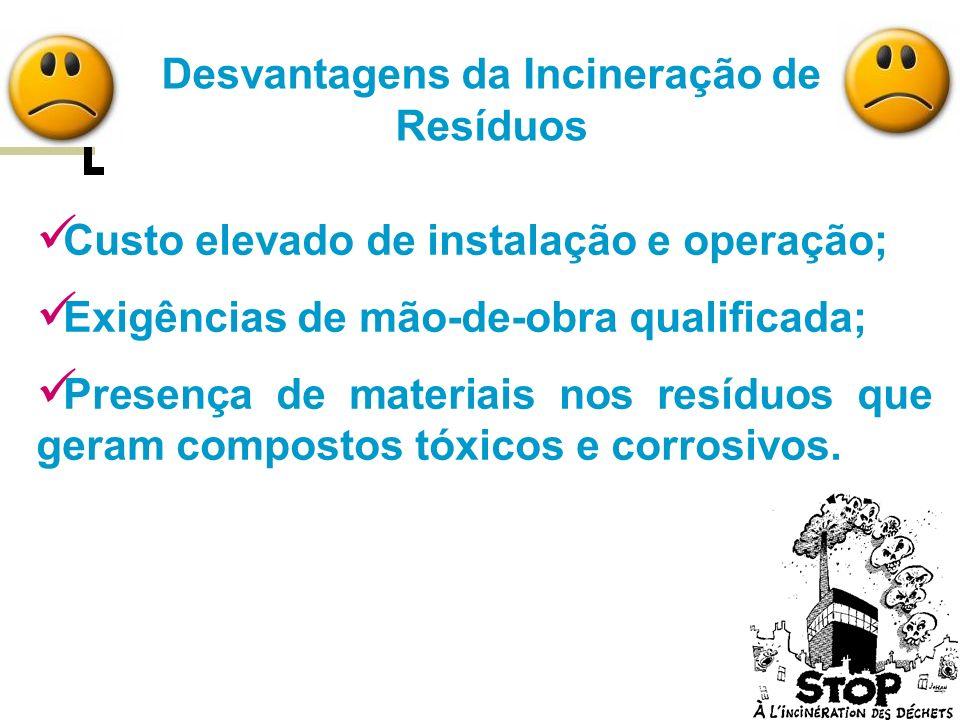 Vantagens da Incineração de Resíduos Redução drástica de massa e volume a ser descartado; Recuperação de energia; Redução do impacto ambiental; Esterilização dos resíduos.