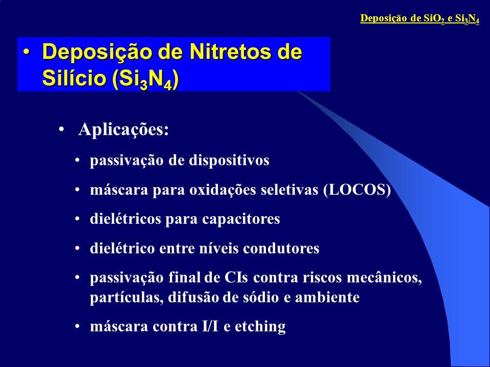Comparação Si 3 N 4 versus SiO 2Comparação Si 3 N 4 versus SiO 2 alto bom para capacitor; melhor barreira contra difusão bom para encapsulamento.