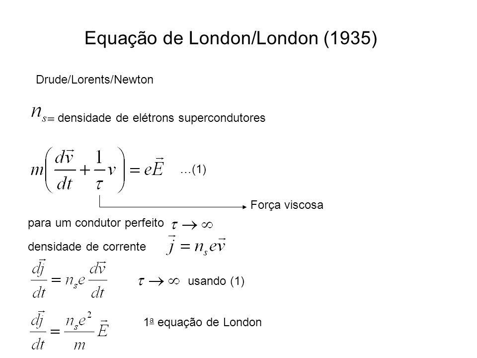A derivada temporal da 4 a equação de Maxwell Tomando o rotacional da 4 a equação de Maxwell Usando o fato que,teremos: onde Esta é a equação para um condutor perfeito.