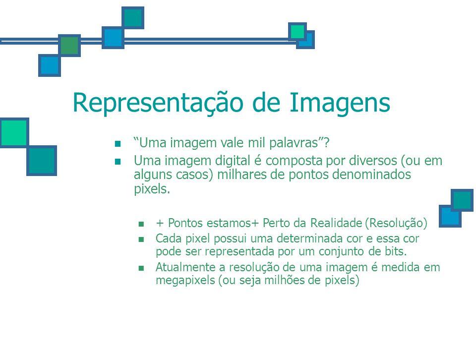 Representação de Imagens Cor: 25543 = 0110001111000111 - Esta imagem (320x230) é composta por cerca de 73600 pixels (0,07mega pixels) - Cada pixel é definido por 16 bits, ou seja, temos 1177600 bits (147.200 bytes).