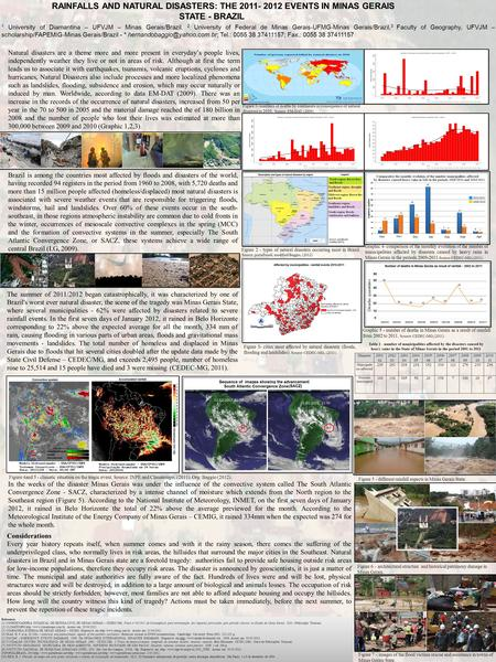 RAINFALLS AND NATURAL DISASTERS: THE 2011- 2012 EVENTS IN MINAS GERAIS STATE - BRAZIL 1 University of Diamantina – UFVJM – Minas Gerais/Brazil, 2 University.