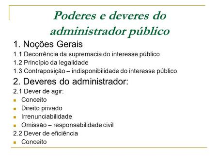 Poderes e deveres do administrador público