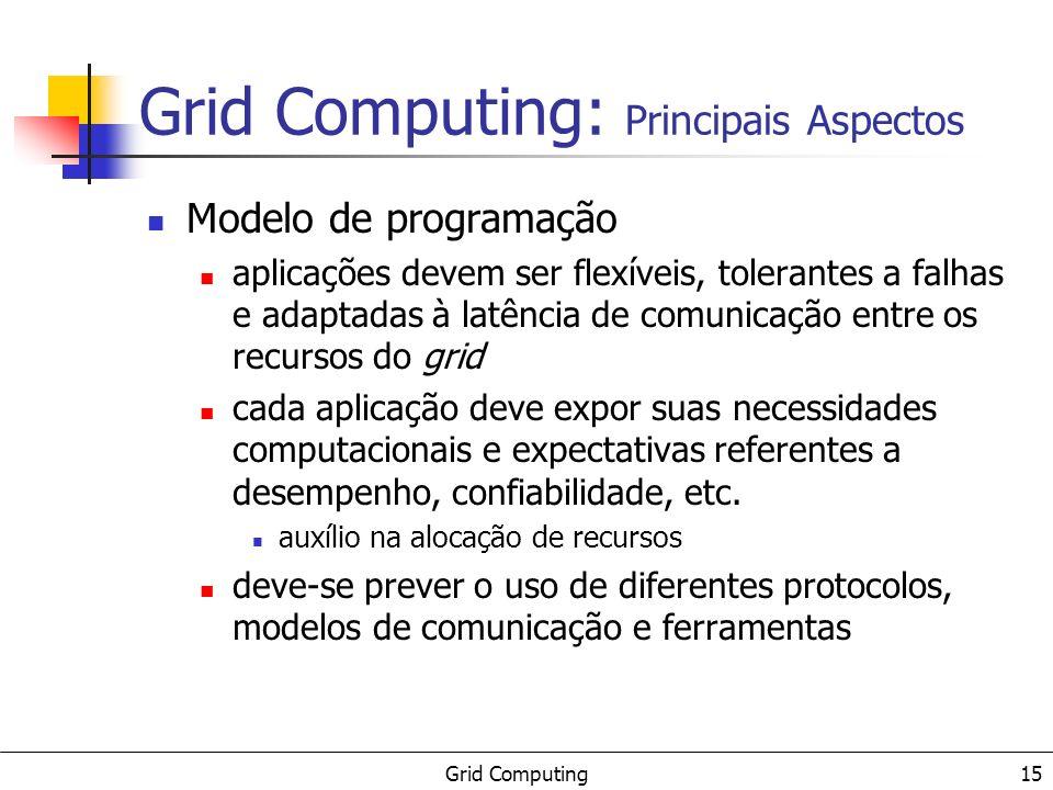 Grid Computing 16 Gerência de recursos cadastro configuração busca (descoberta) alocação monitoramento Grid Computing: Principais Aspectos