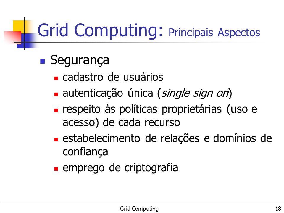 Grid Computing 19 Gerenciamento de Informações Serviços para registro e obtenção de informações sobre a estrutura, os recursos, os serviços e o estado de cada componente dentro do grid.