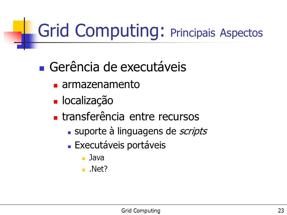 Grid Computing 24 Usuários donos de recursos administradores de sistemas desenvolvedores (serviços e ferramentas) usuários finais Grid Computing: Principais Aspectos