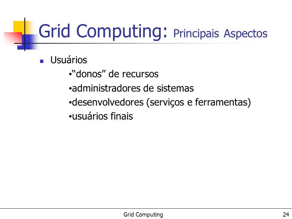 Grid Computing 25 Grid Computing: Principais Aspectos Aplicações computação distribuída computação de alto desempenho computação sob demanda computação intensiva de dados computação colaborativa