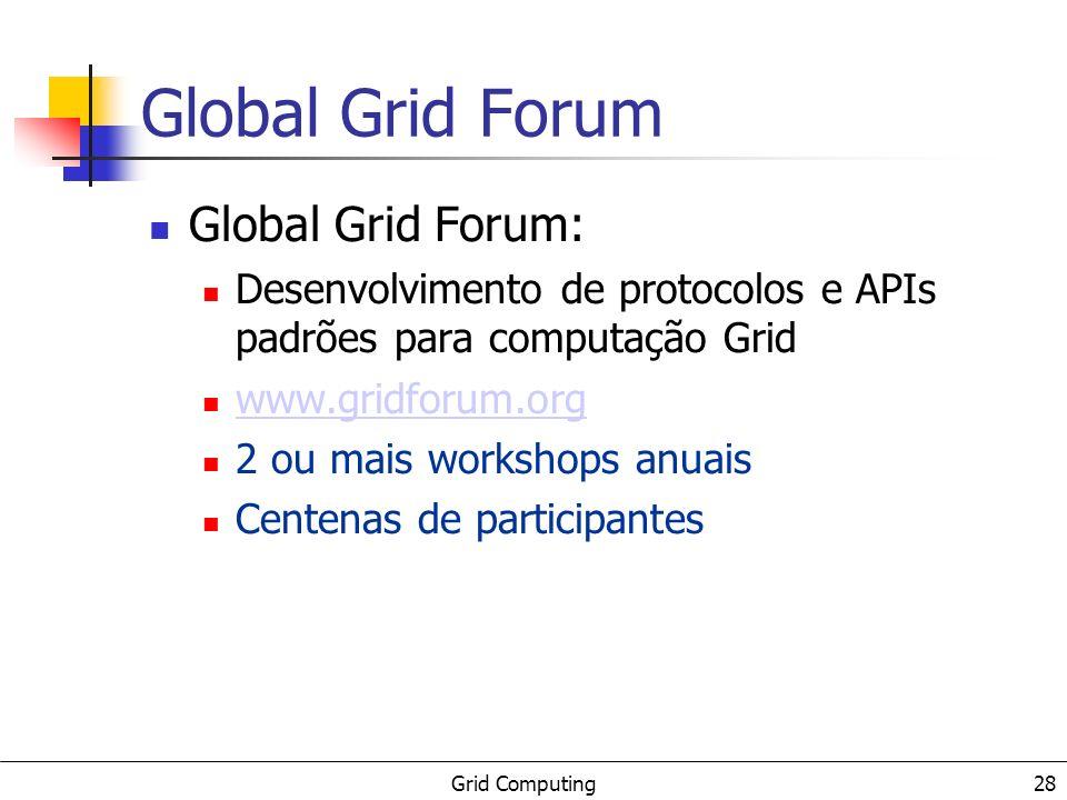 Grid Computing 29 Referências: conceituais/surveys checkpoint list: http://www.gridtoday.com/02/0722/100136.html BUYYA - {The Grid}: International Efforts in Global Computing : http://www.cs.mu.oz.au/~raj/papers/TheGrid.pdf ROURE, - {T}he Evolution of the {G}rid : http://www.semanticgrid.org/documents/evolution/evo lution.pdf NEMETH, - {A} comparison of conventional distributed computing environments and computational grids : http://www.mathcs.emory.edu/harness/pub/general/zs olt1.ps.gz