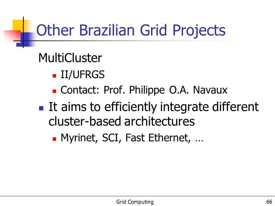 Grid Computing 67 Other Brazilian Grid Projects GridGene UFRJ, LCC/MCT, UFPB/Campina Grande Contact: Prof.