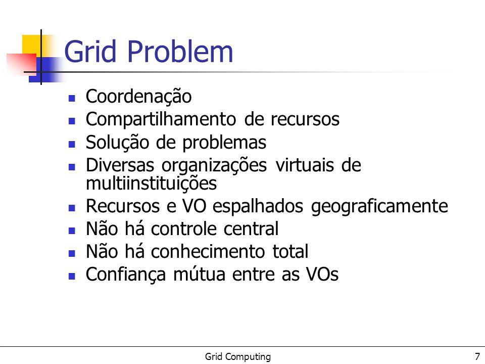 Grid Computing 8 Tecnologias atuais SOR (Windows 2000 server, Linux de rede,...) Web Servidores de aplicações Servidores de armazenamento Servidores de cpu (ciclos) Middlewares clássicos e novos (DCE, CORBA, J2EE,.Net,...) Não atendem (boa parte) os requisitos