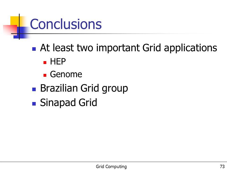 Grid Computing 74 Conclusões gerais Grid Tecnologia necessária a diversas aplicações Diversas e variadas soluções Globus, Condor, Legion,...
