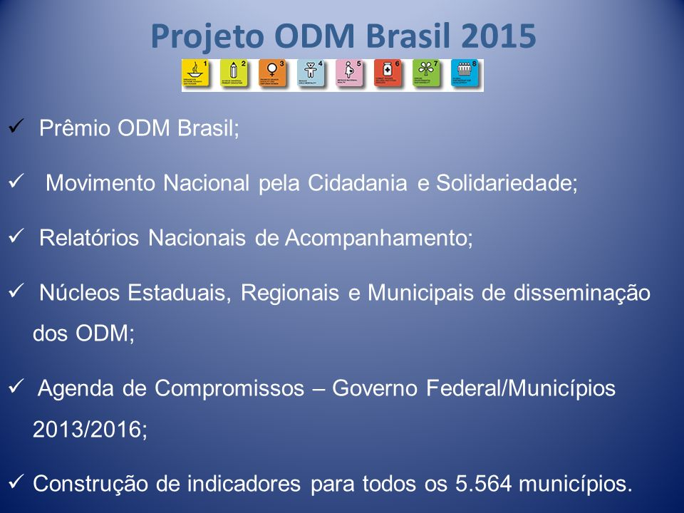 Projeto ODM Brasil 2015 AGENDA DE COMPROMISSOS