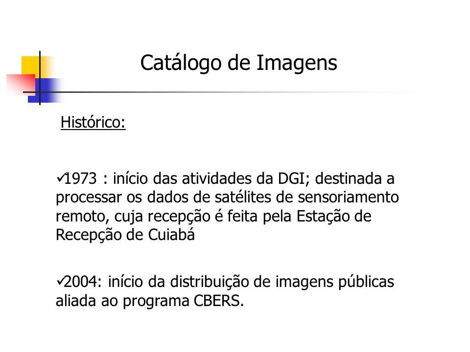 Catálogo de Imagens Principais Diretrizes: Processar, armazenar e disseminar, de forma operacional, dados e imagens de satélites de observação da Terra.
