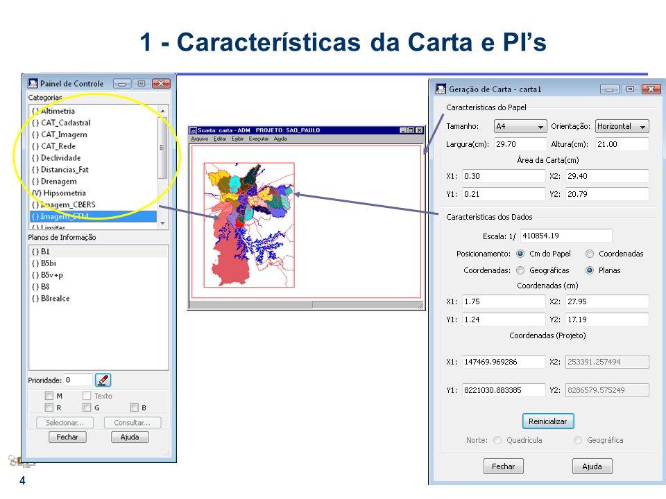 5 F1, F2 - tamanho do papel COORD1, COORD2 - área de dados U1, U2 - área útil (Projeto/PI/ sub-área) P1, P2 - Área de dadosCOORD1 P1 1 - Características do Papel e dos Dados