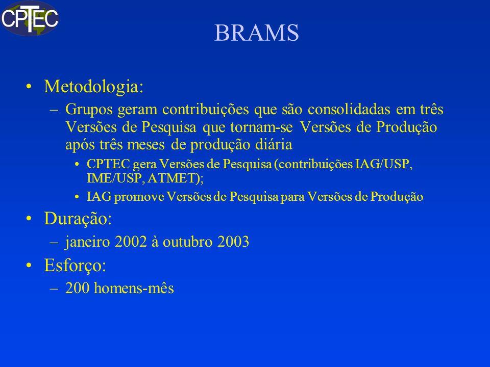 BRAMS 1.0 Baseado no RAMS 5.0.2 (Shaved Eta) Dados de Vegetação Acurados Nova Convecção (Shallow + Grell) Umidade do solo inicializada por modelo próprio sobre dados de satélite Melhor Codificação (Metade do Trabalho) Reproducibilidade binária em uma grade Ciclo Operacional (com Assimilação) incluso Versão de Produção aprovada pelo IAG em testes do SIMEPAR