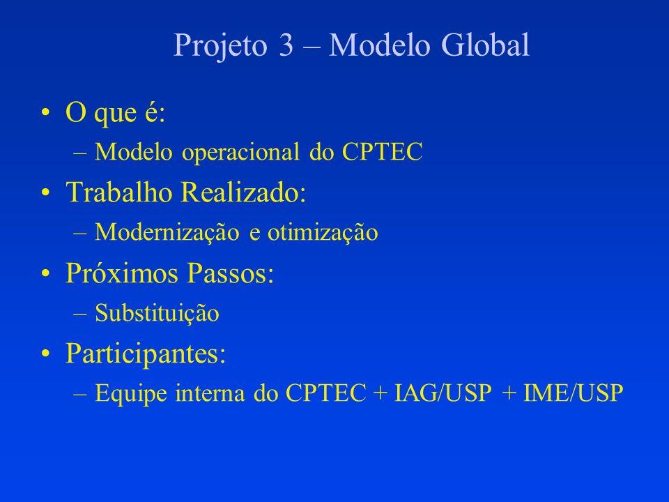 Projeto 4 – Novo Modelo Global O que é: –Futuro Modelo operacional do CPTEC Trabalho Realizado: –Formulação Euleriana ou Semi-Lagrangeano –Shallow Cumulus + Grell –Otimização seqüencial Próximos Passos: –Paralelismo de memória central Participantes: –Equipe interna do CPTEC + IAG/USP + IME/USP + IMPA