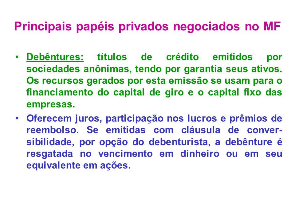 Letras de Câmbio: são emitidas pelos financiados dos contratos de crédito.