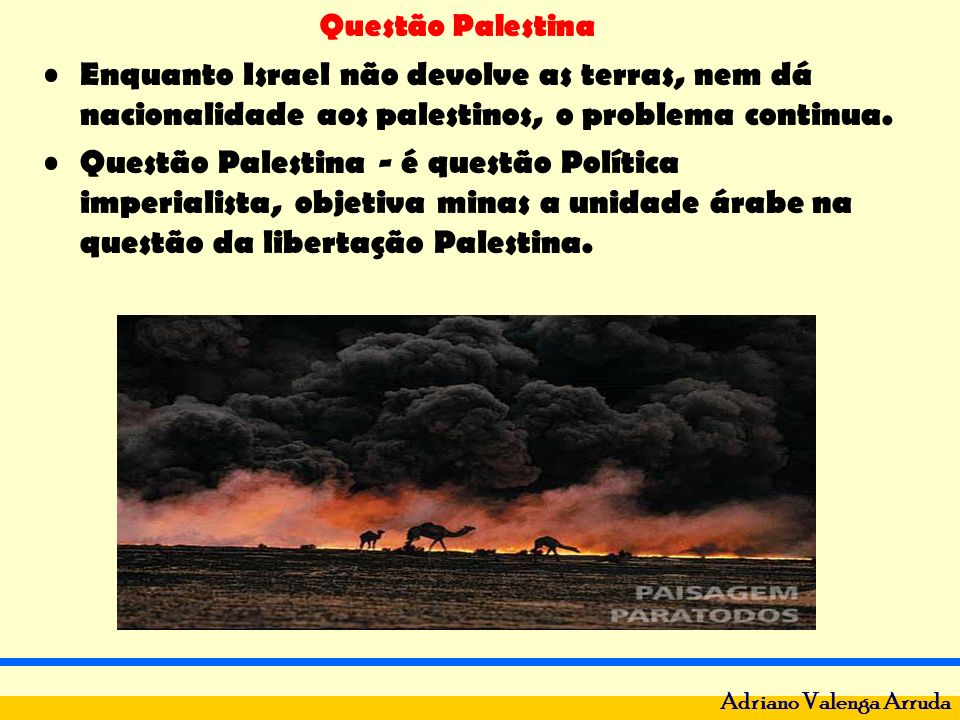 Questão Palestina Adriano Valenga Arruda Crescimento do fundamentalis -mo islâmico: Irã, Argélia, Egito, Jordânia, Egito, Marrocos e Tunísia.