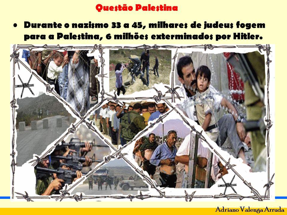 Questão Palestina Adriano Valenga Arruda Em 1947 – descolonização - ONU divide a Palestina: 44% para Palestina em 3 partes: Gaza, Golan e Cisjordânia - 1.300.000 e 56% para judeus com 500.000 habitantes.