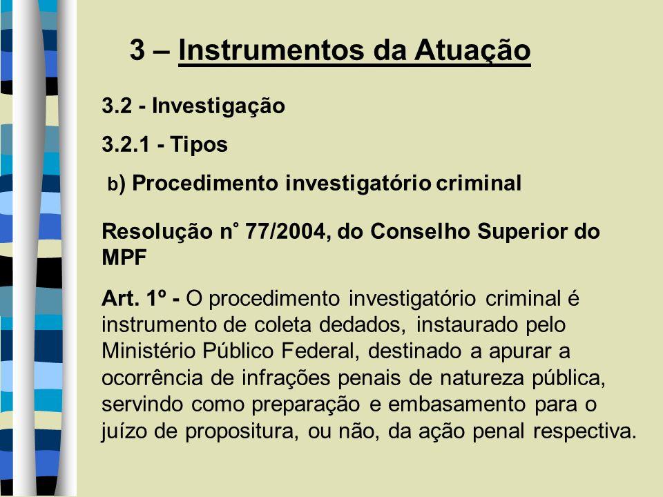 3 – Instrumentos da Atuação 3.2.2 – Instrumentos de investigação Lei Complementar n° 75/93 Art.