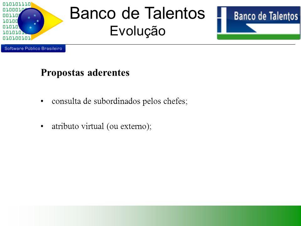 Banco de Talentos Evolução Propostas não-aderentes implementação do controle de acesso (subprojeto); cadastro de usuários (subprojeto); implementação de autenticação usando LDAP (exemplo).