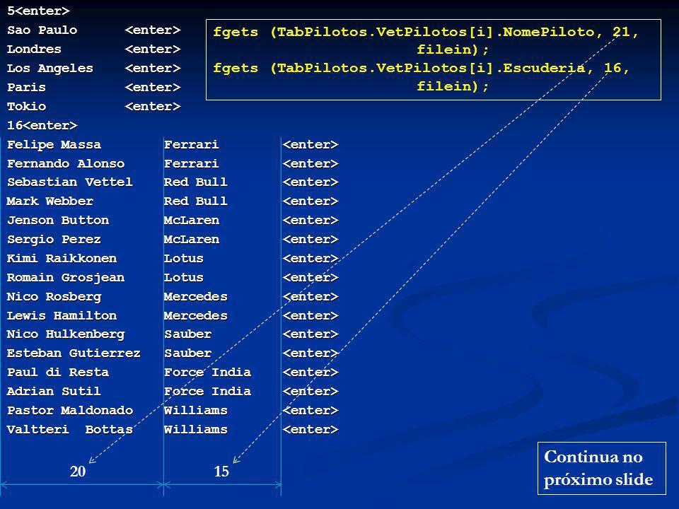 /* Funcao EscreverPilotos: escrita das informacoes sobre os pilotos */ void EscreverPilotos () { int i, j; fprintf (fileout, \n\nInformacoes sobre os %d pilotos:\n , TabPilotos.npilotos); for (i = 0; i < TabPilotos.npilotos; i++) { for (i = 0; i < TabPilotos.npilotos; i++) { fprintf (fileout, \n%-25s , TabPilotos.VetPilotos[i].NomePiloto); fprintf (fileout, \n%-25s , TabPilotos.VetPilotos[i].NomePiloto); fprintf (fileout, %-20s , TabPilotos.VetPilotos[i].Escuderia); fprintf (fileout, Classificacoes: ); fprintf (fileout, Classificacoes: ); for (j = 0; j < TabGPs.ngps; j++) for (j = 0; j < TabGPs.ngps; j++) fprintf (fileout, %3d , TabPilotos.VetPilotos[i].Classificacao[j]); fprintf (fileout, %3d , TabPilotos.VetPilotos[i].Classificacao[j]); fprintf (fileout, Total de pontos:%4d , TabPilotos.VetPilotos[i].TotalPontos); fprintf (fileout, Total de pontos:%4d , TabPilotos.VetPilotos[i].TotalPontos); }}