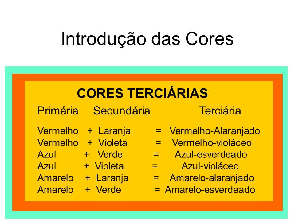 Introdução das Cores Todas as cores obtidas com a mistura das três primárias, de um par de complementares ou ainda, que contenham cinza ou preto na composição.