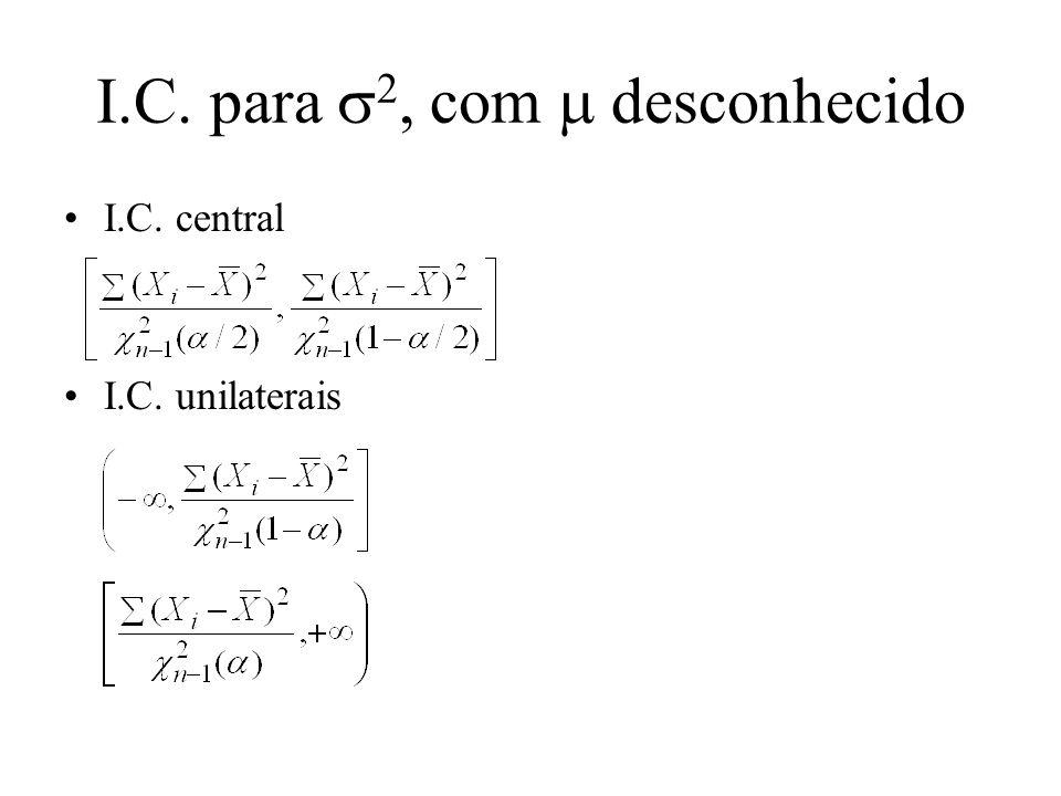 Exemplo Obter I.C. de nível 95% para e 2 para o caso em que n = 16, X i = 960 e X i 2 = 70.000