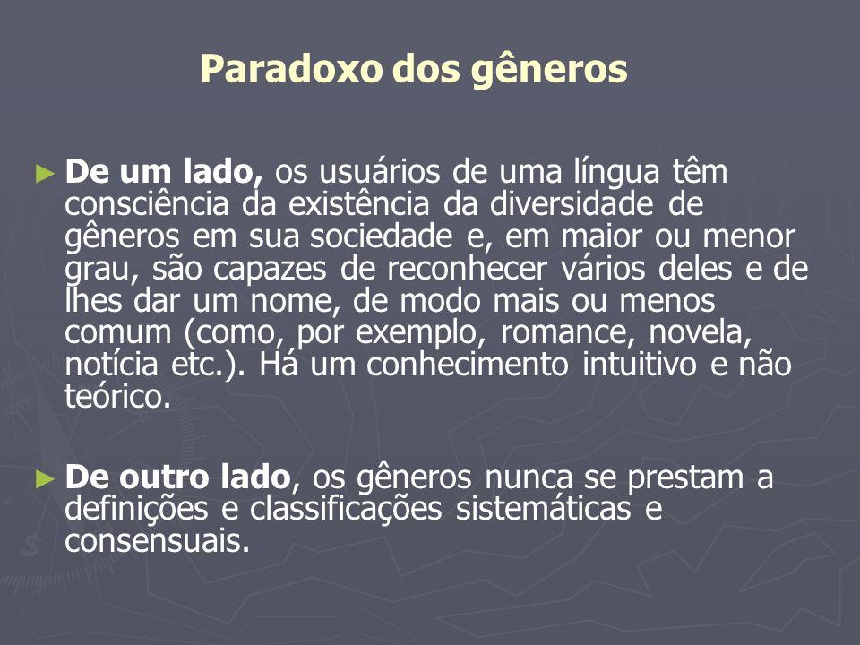 Paradoxo dos gêneros Mesmo os nomes dados aos gêneros existentes às vezes não nos ajudam em muita coisa.