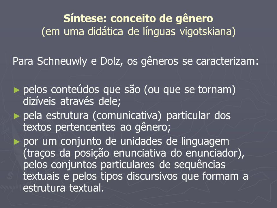 Síntese: conceito de gênero (em uma didática de línguas vigotskiana) PORTANTO, a nosso ver, esses três conjuntos de elementos deveriam ser ensinados.