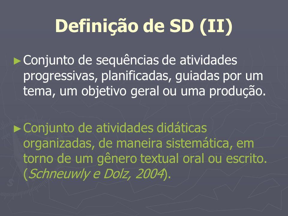 As Sequências Didáticas (I) Surge em Genebra a expressão sequência didática para o ensino de gênero, que vem posteriormente para o Brasil.