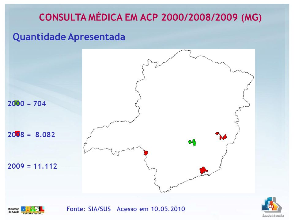 CONSULTA MÉDICA EM ACP 2000/2008/2009 (MG) Fonte: SIA/SUS Acesso em 10.05.2010 Quantidade Apresentada 200020082009 Belo Horizonte4426.0599.825 Betim24500 Caratinga0955594 Ibiraci0130 Ipatinga000 Juiz de Fora0895693 Nova Lima171600
