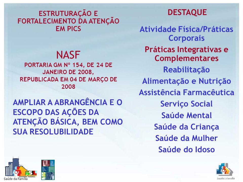 Profissionais do NASF (No mínimo 5) Assistente Social; Profiss.