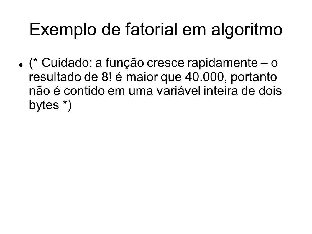 Função fatorial (x:inteiro):inteiro (* função para calcular o fatorial de um número recursivamente; responsável:...; data: …*) Inicio Se x = 0 então Fatorial 1 Senão Fatorial x*(x-1).