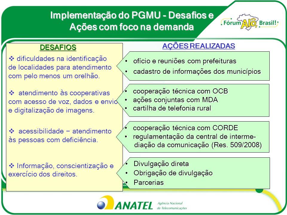 Implementação do PGMU - Desafios e Ações com foco na oferta DESAFIOS DESAFIOS Prazo de instalação de acesso Individual (até 7 dias) Disponibilidade de Orelhão em Localidades sem ac.