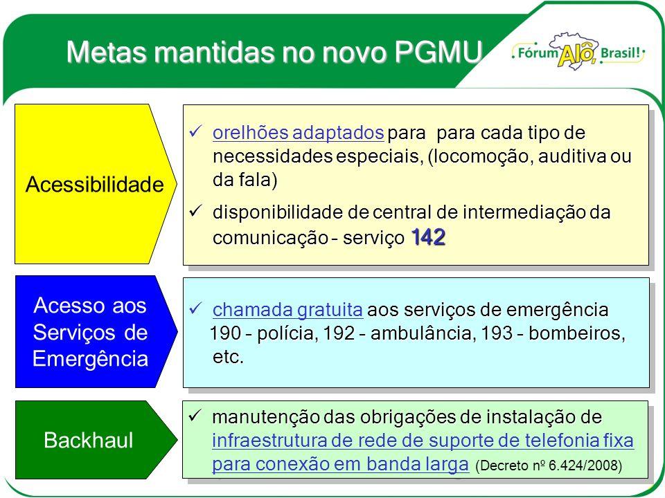 Novas Metas do PGMU Novas Metas do PGMU Atendimento às áreas rurais, e às famílias de menor poder aquisitivo.