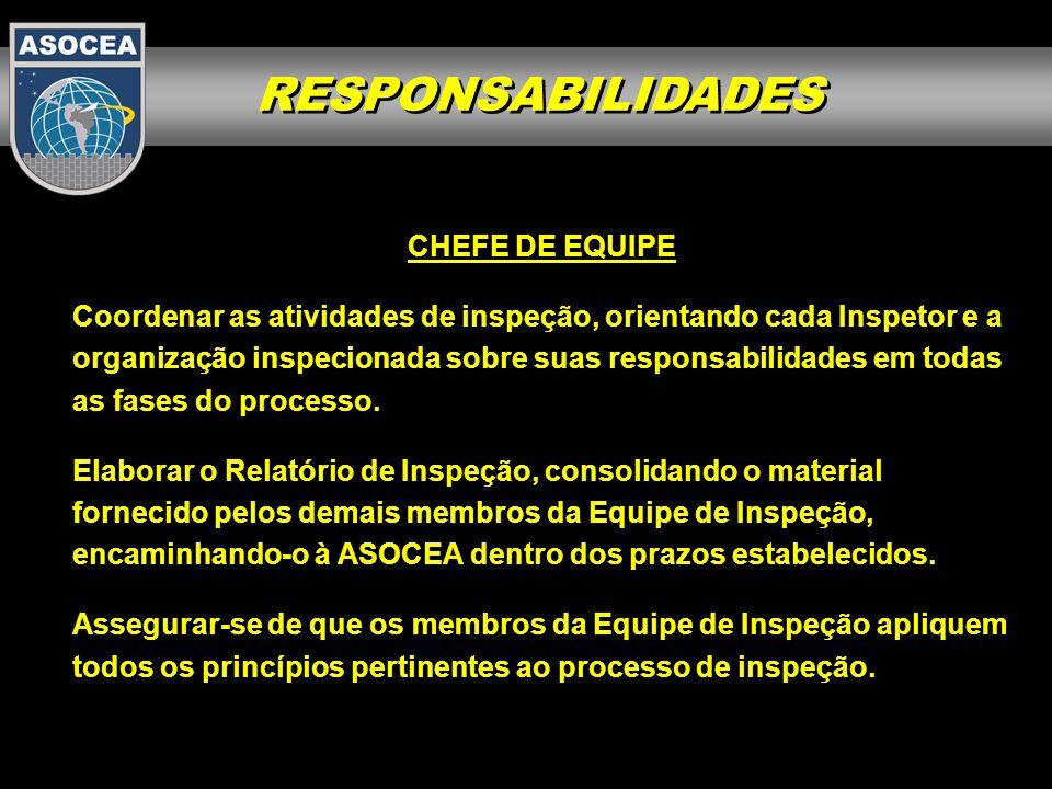 RESPONSABILIDADES CHEFE DE EQUIPE Planejar e realizar as reuniões de coordenação inicial e final com a Equipe de Inspeção, bem como as reuniões de abertura e de encerramento da inspeção, com os responsáveis pela organização inspecionada.