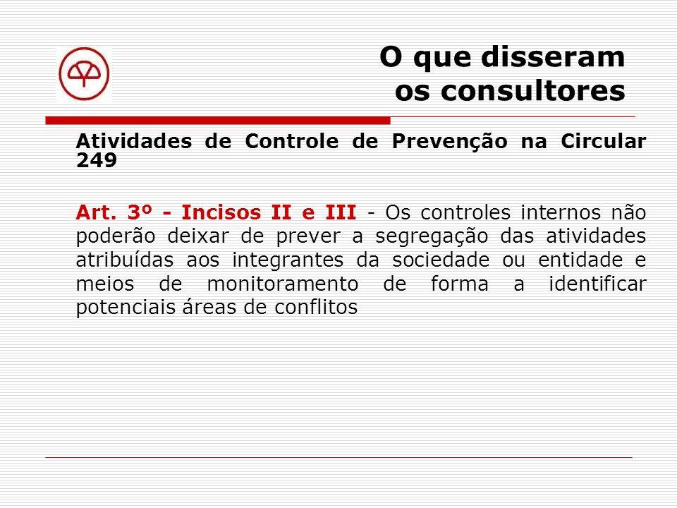 O que disseram os consultores Atividades de Controle de Detecção na Circular 249 Art.