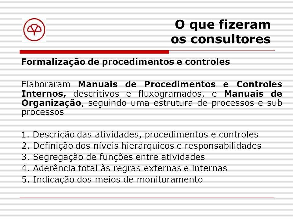 O que fizeram os consultores Definição de responsabilidades Elaboraram uma Política de Alçadas e Autorizações 1.