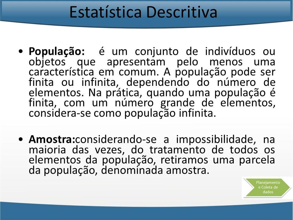Estatística Descritiva A população pode ser constituída por pessoas, animais, minerais, vegetais, etc.