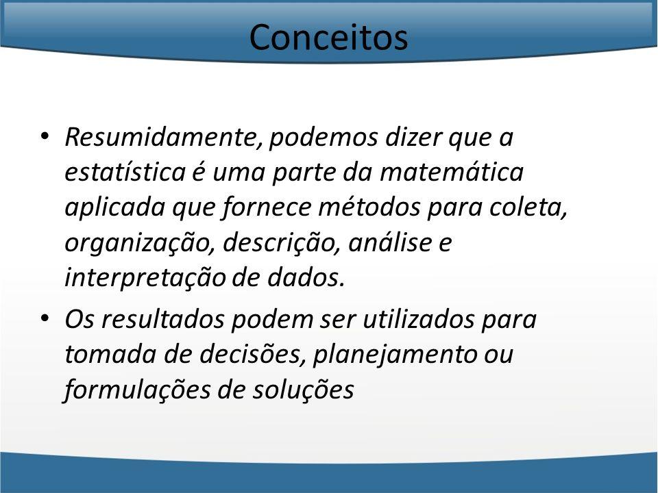 Conceitos A Estatística basicamente se divide em 3 partes, a saber: Estatística Descritiva: Essa parte da Estatística utiliza números para descrever fatos.
