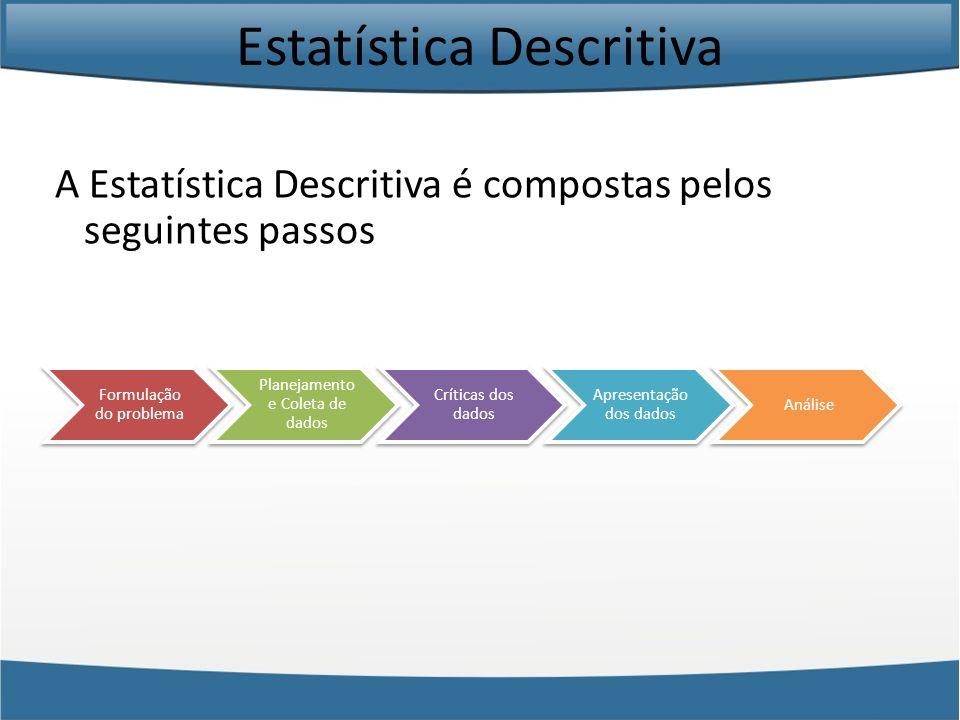Estatística Descritiva A formulação do problema consistem em definir qual o objetivo que se pretende ao analisar uma população/amostra.
