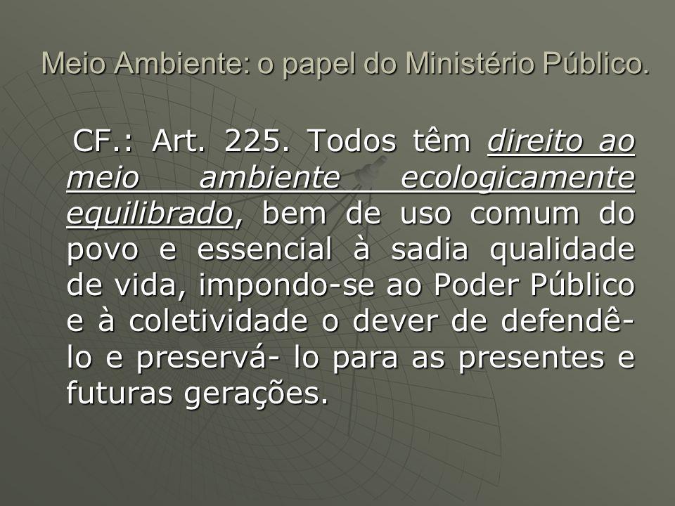 Meio Ambiente: o papel do Ministério Público.CF.:Art.