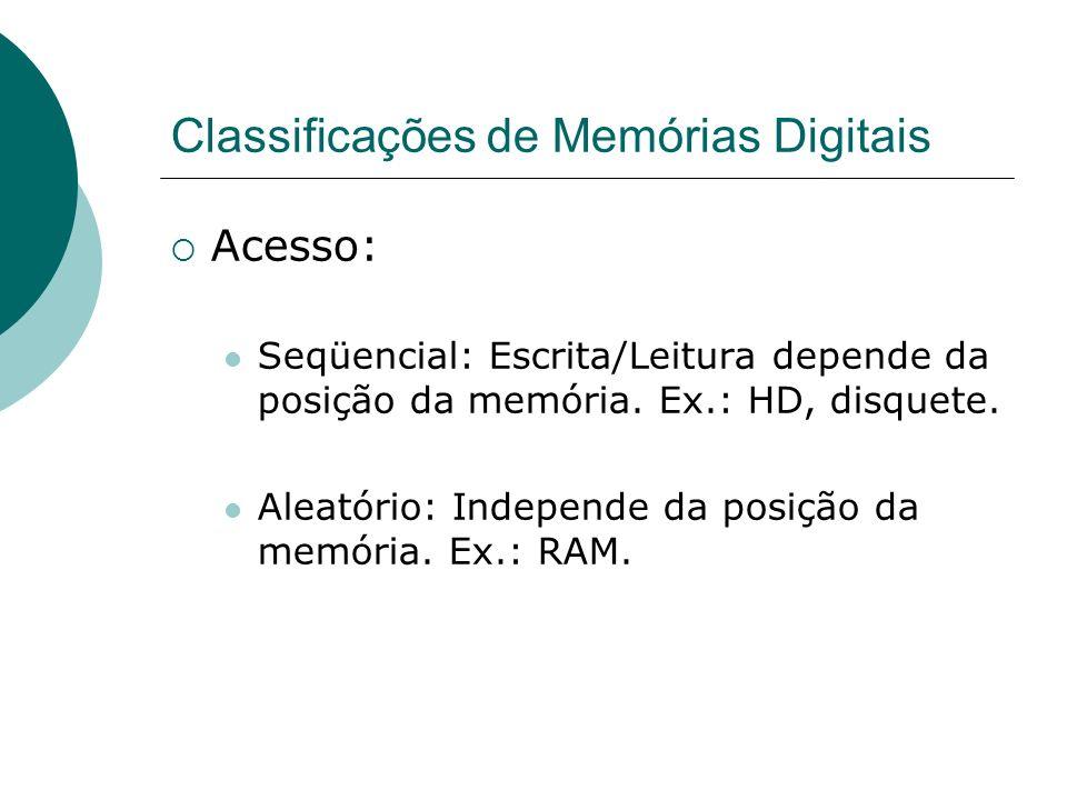 Classificações de Memórias Digitais Persistência dos Dados: Volátil: Perdem os dados se a alimentação elétrica é desligada.