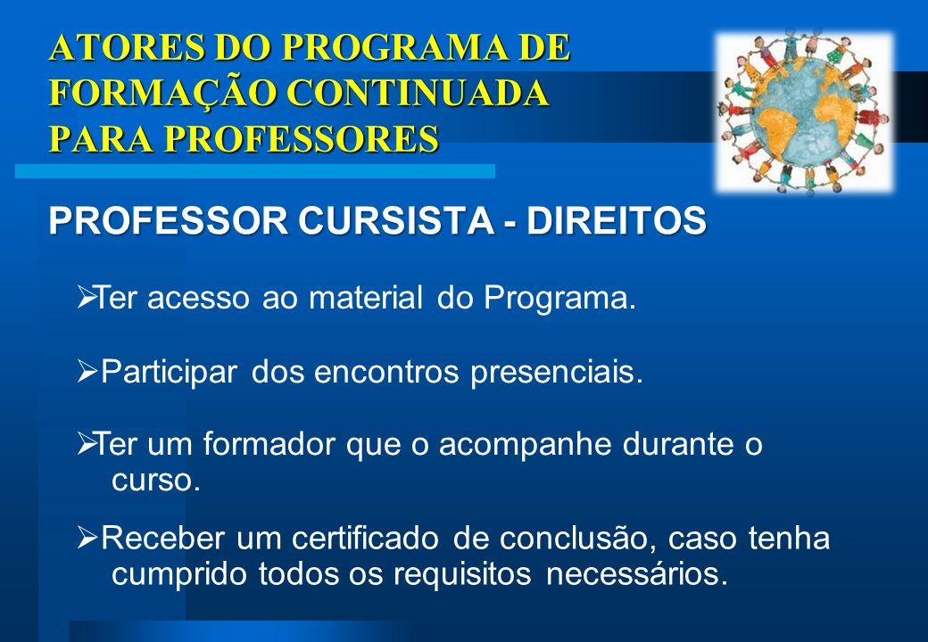 ATORES DO PROGRAMA DE FORMAÇÃO CONTINUADA PARA PROFESSORES PROFESSOR CURSISTA - ATRIBUIÇÕES Planejar ações pedagógicas com base nas Diretrizes Curriculares para o Ensino Fundamental.