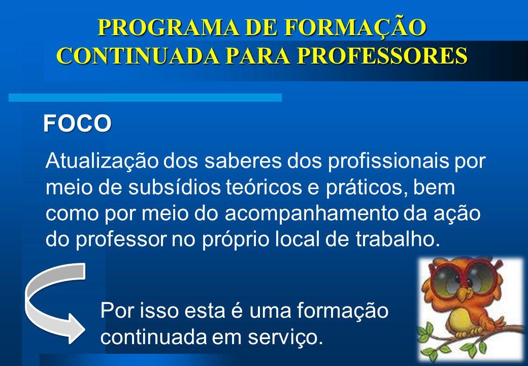 PROGRAMA DE FORMAÇÃO CONTINUADA PARA PROFESSORES OBJETIVOS Valorizar o professor de forma profissional e pessoal.