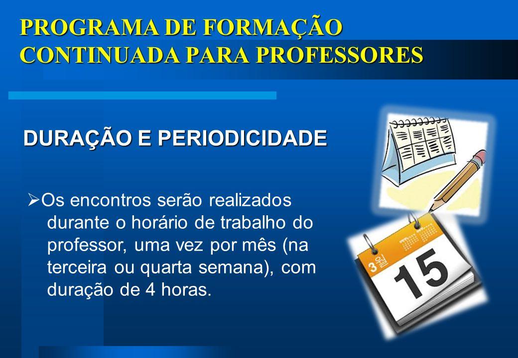 PROGRAMA DE FORMAÇÃO CONTINUADA PARA PROFESSORES A primeira etapa da formação será realizada de setembro/12 a março/13, respeitando o calendário pré-estabelecido pela SME/SER, em consonância com a escola.