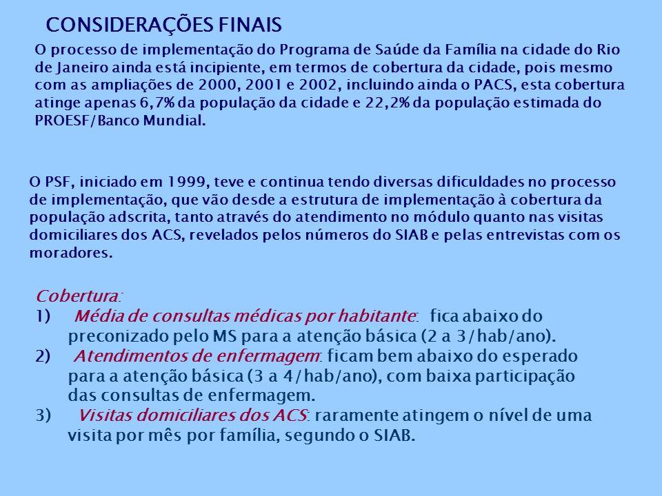 CONSIDERAÇÕES FINAIS O processo de implementação do Programa de Saúde da Família na cidade do Rio de Janeiro ainda está incipiente, em termos de cobertura da cidade, pois mesmo com as ampliações de 2000, 2001 e 2002, incluindo ainda o PACS, esta cobertura atinge apenas 6,7% da população da cidade e 22,2% da população estimada do PROESF/Banco Mundial.